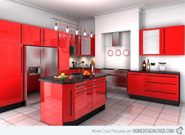 Parlak Kırmızı Mutfak Dolapları