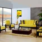 sarı oturma odası modelleri