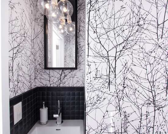 Siyah Beyaz Banyo Duvar Kağıdı Modeli