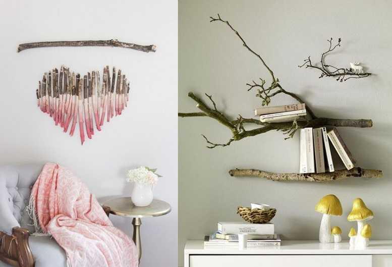 ağaç dallarıyla dekoratif duvar dekorasyonu