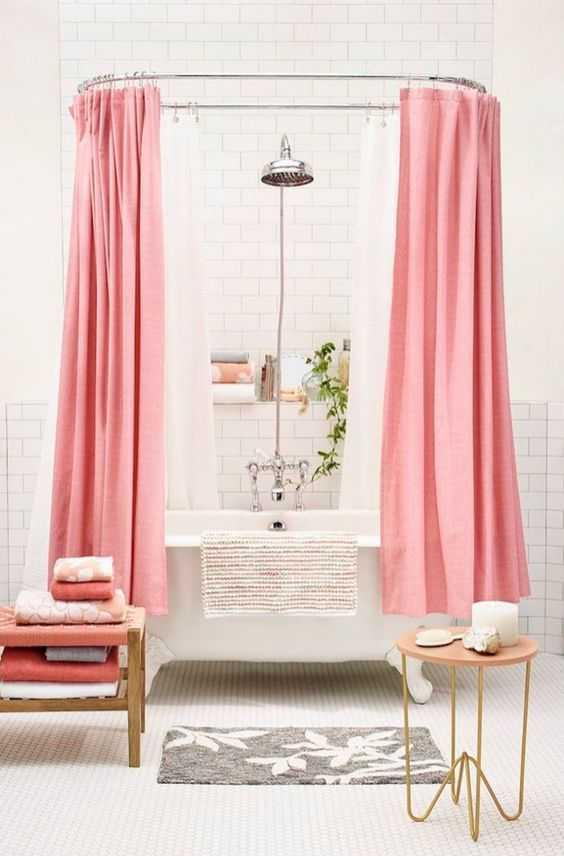pembe pastel duşa kabin perdesi