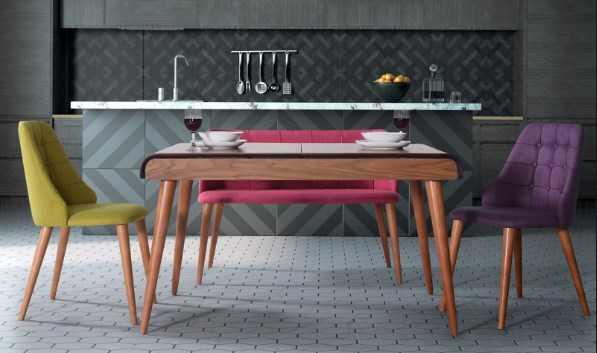 banklı renkli mutfak masası