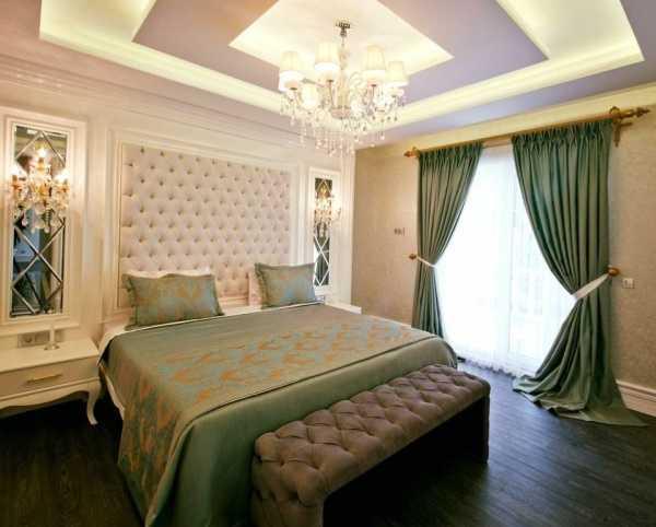 yeşil yatak odası perde modelleri