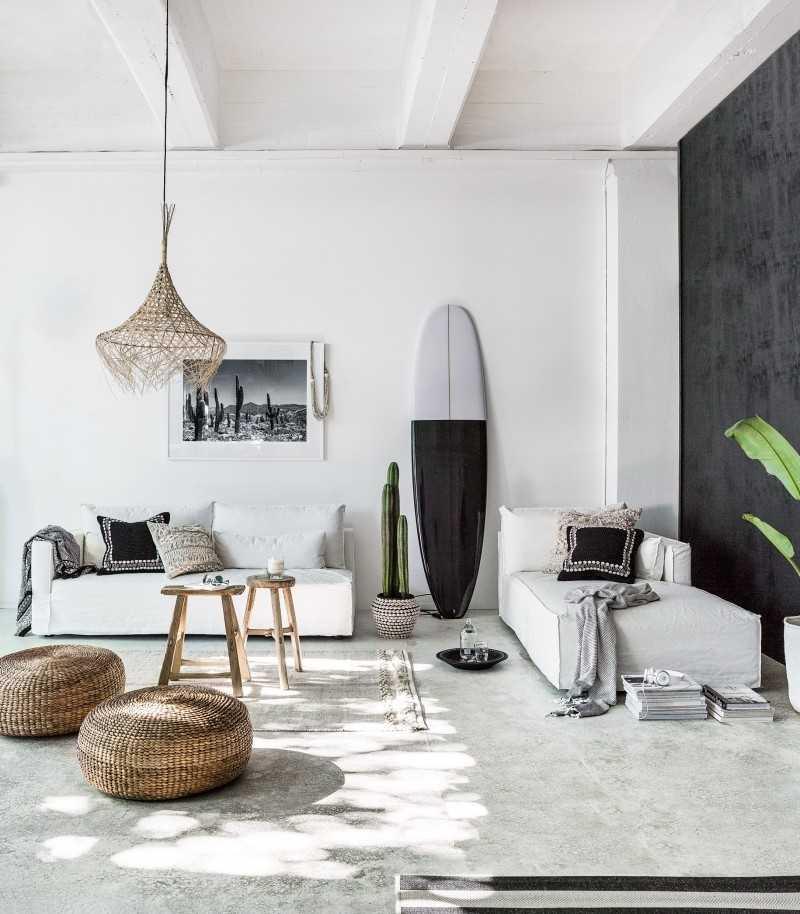 şık iskandinav oturma odası