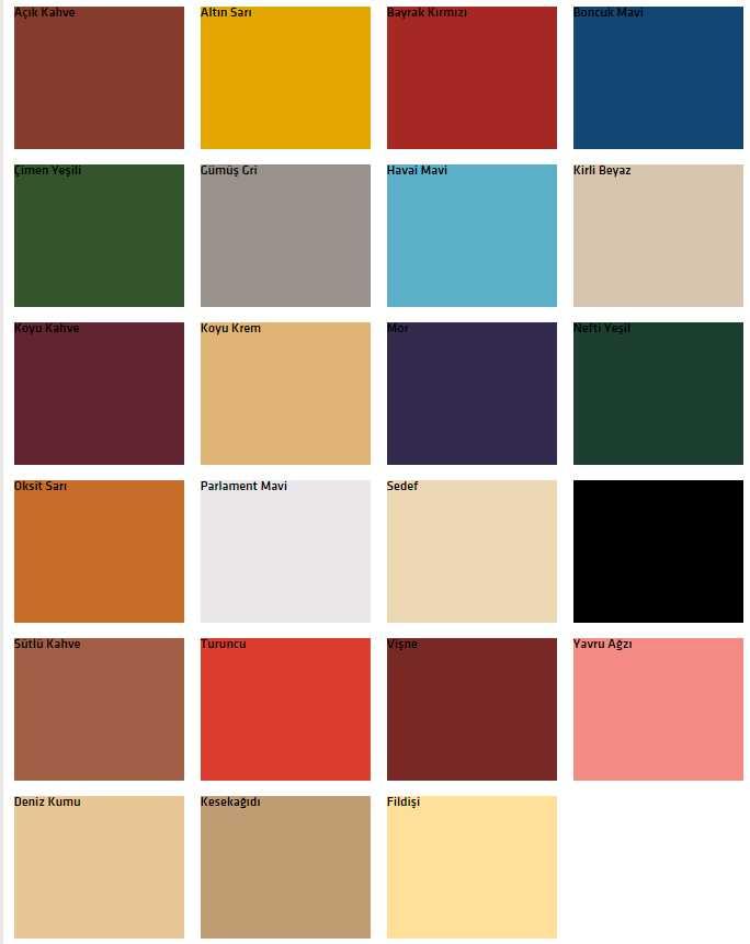 Favori boya sentetik premium renk kartelası