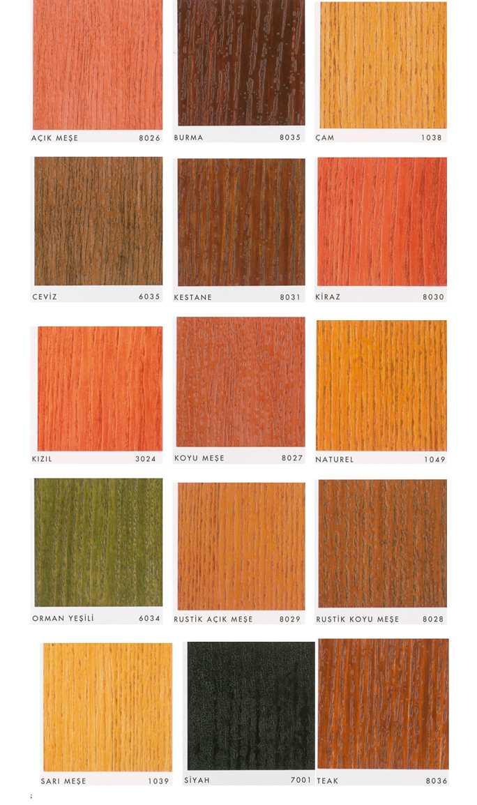 Favori boya wood stain renk kartelası
