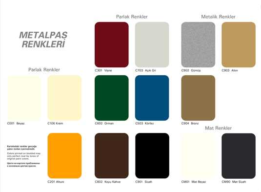 casati boya metalpas renk kartelası
