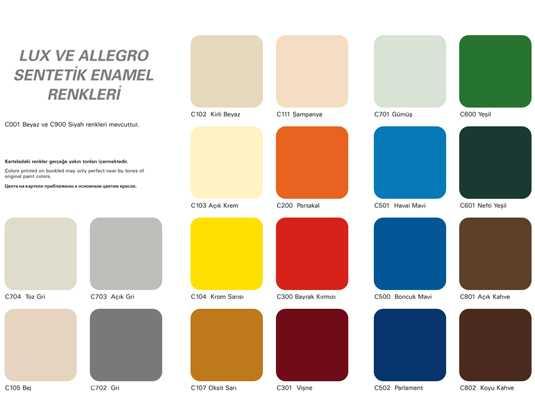 casati boya sentetik ürünler renk kartelası