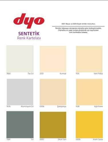 dyo boya iç sentetik boyalar renk kartelası