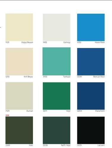 dyo boya iç sentetik boyalar renk kartelası 2