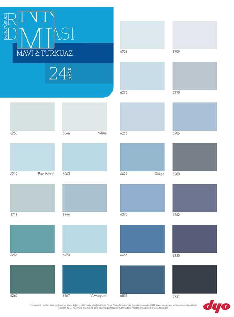 dyo boya mavi ve turkuaz renk kartelası