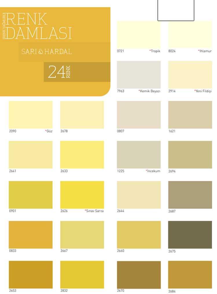 dyo boya sarı ve hardal renk kartelası