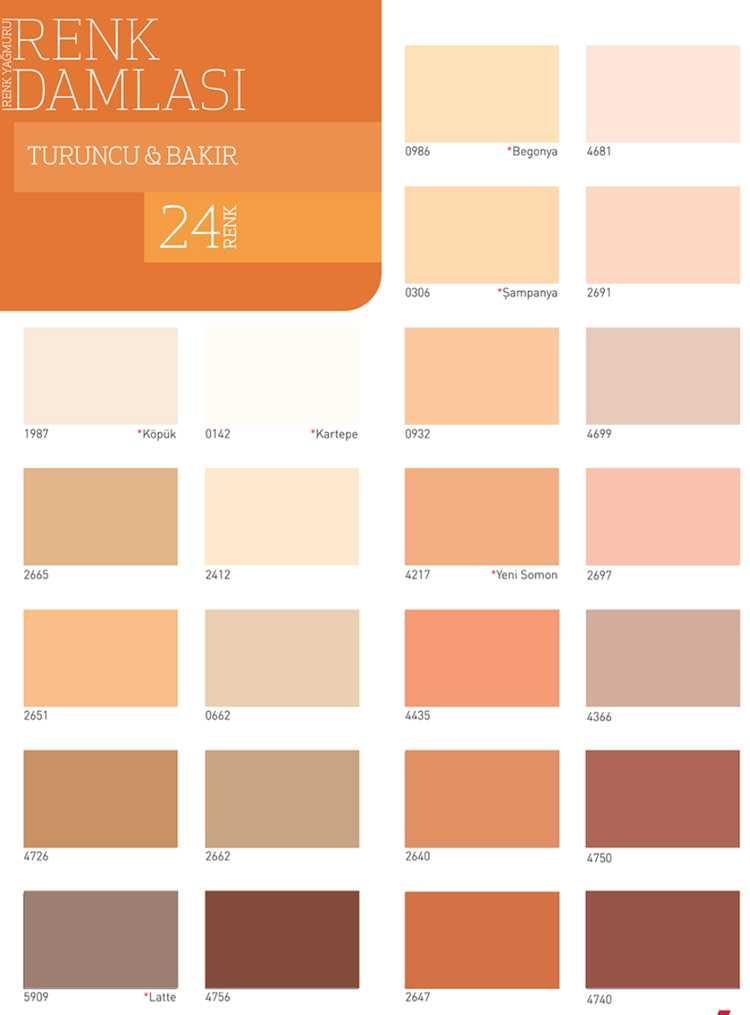 dyo boya turuncu ve bakır renk kartelası