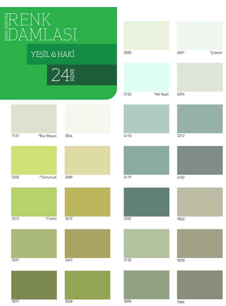 dyo boya yeşil ve haki renk kartelası