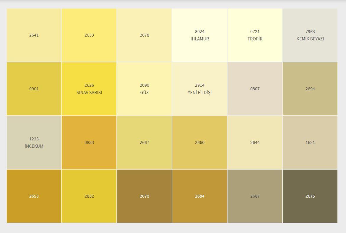 2021 Dyo İç Cephe Boyası Renk Kartelası Sarı