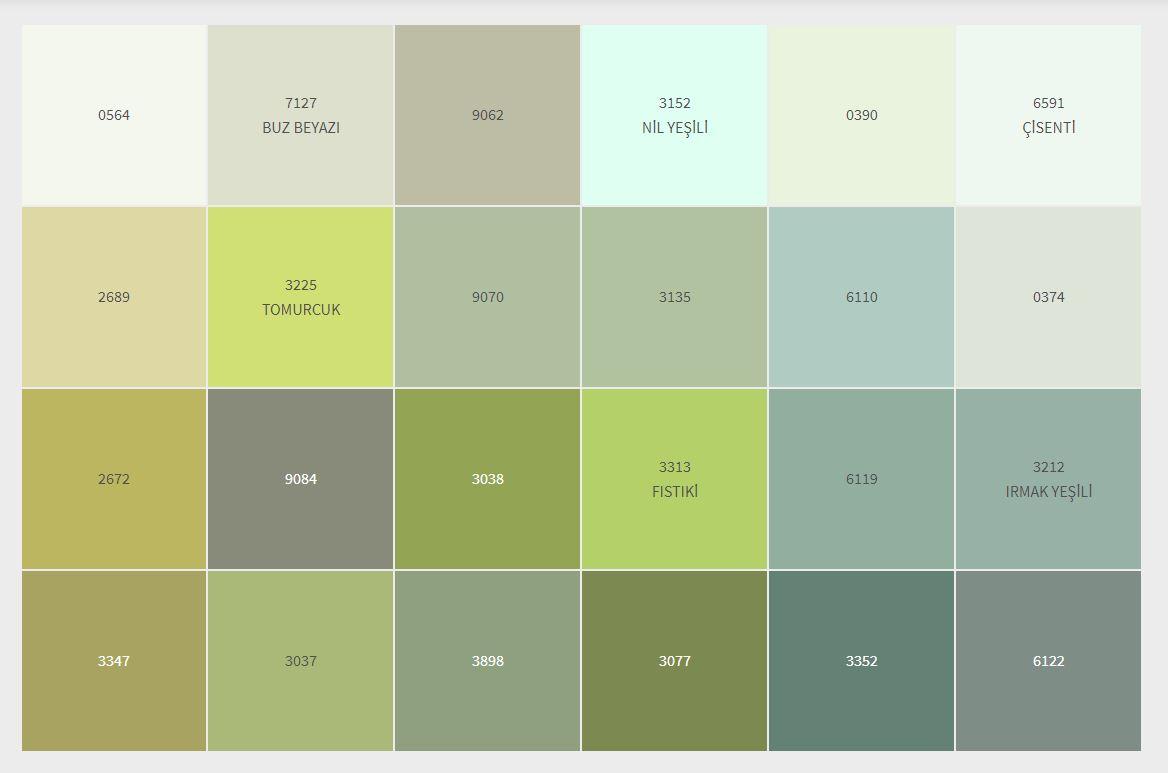 2021 Dyo İç Cephe Boyası Renk Kartelası Yeşil- Haki