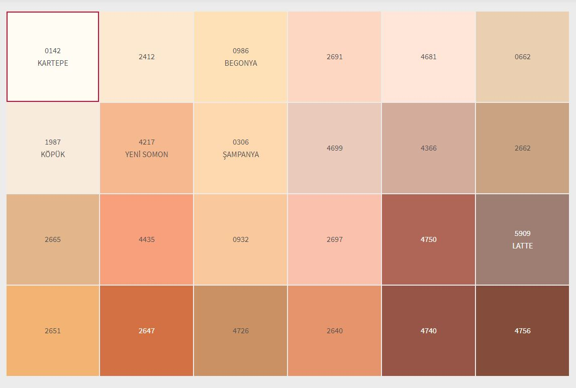 2021 Dyo İç Cephe Boyası Renk Kartelası kırmızı turuncu