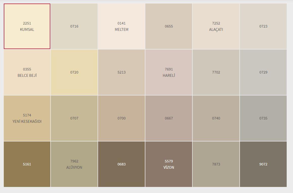 2021 Dyo İç Cephe Boyası Renk Kartelası