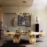 altın rengi yemek masası