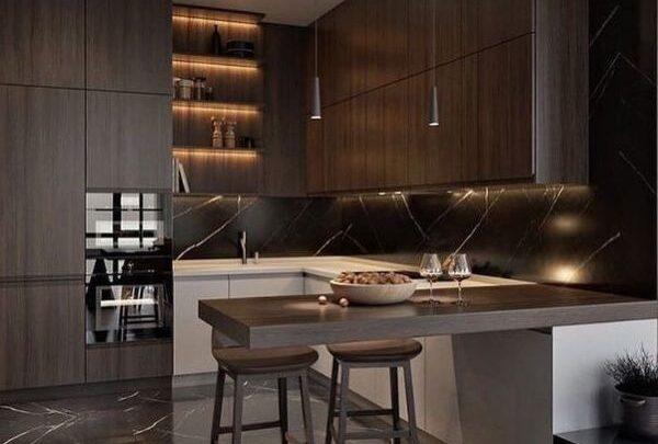 Kahverengi mutfak dekorasyonları
